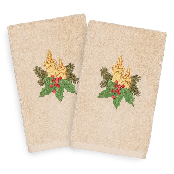 Beam Candles Embroidered Luxury 100% Turkish Cotton Hand Towel (Set of 2) by The Holiday Aisle